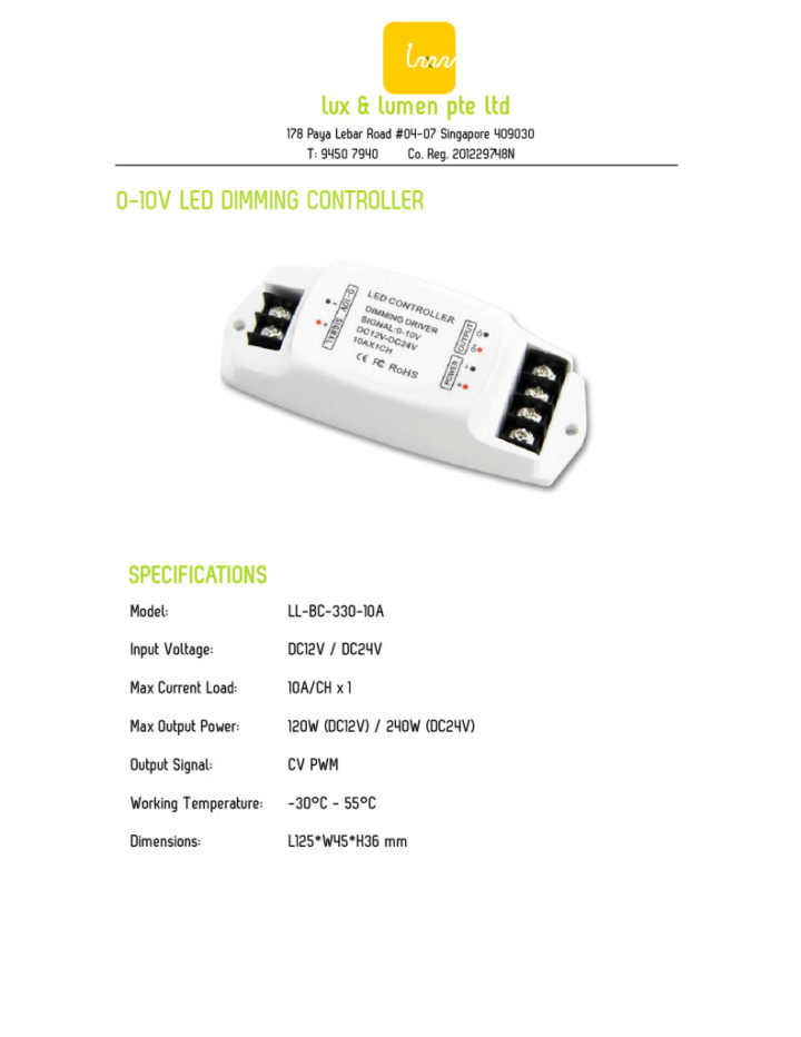 0-10V LED Dimming Controller