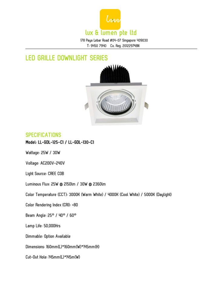 LED Grille Downlight Series 125130