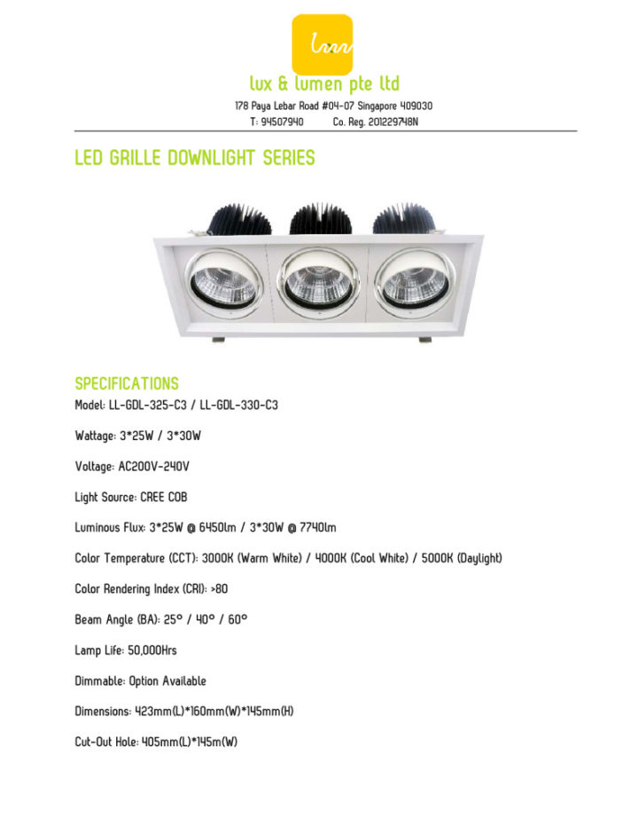 LED Grille Downlight Series 325330