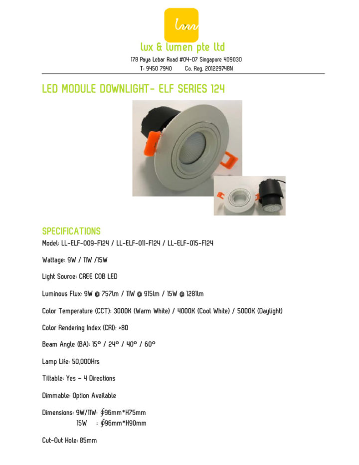 thumbnail of LED Module Downlight – Elf Series 124