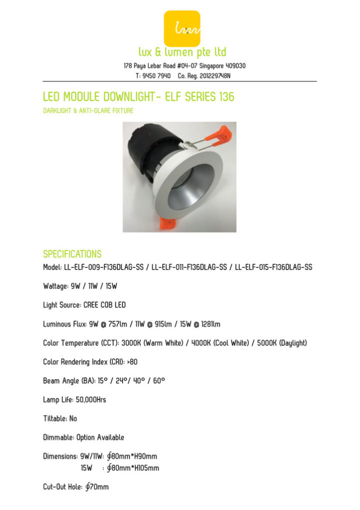 thumbnail of LED Module Downlight – Elf Series 136 (DLAG-SS)