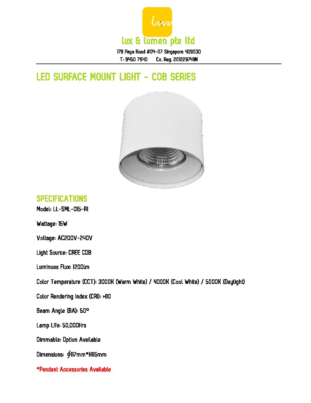 LED Surface Mount Light COB Series R015