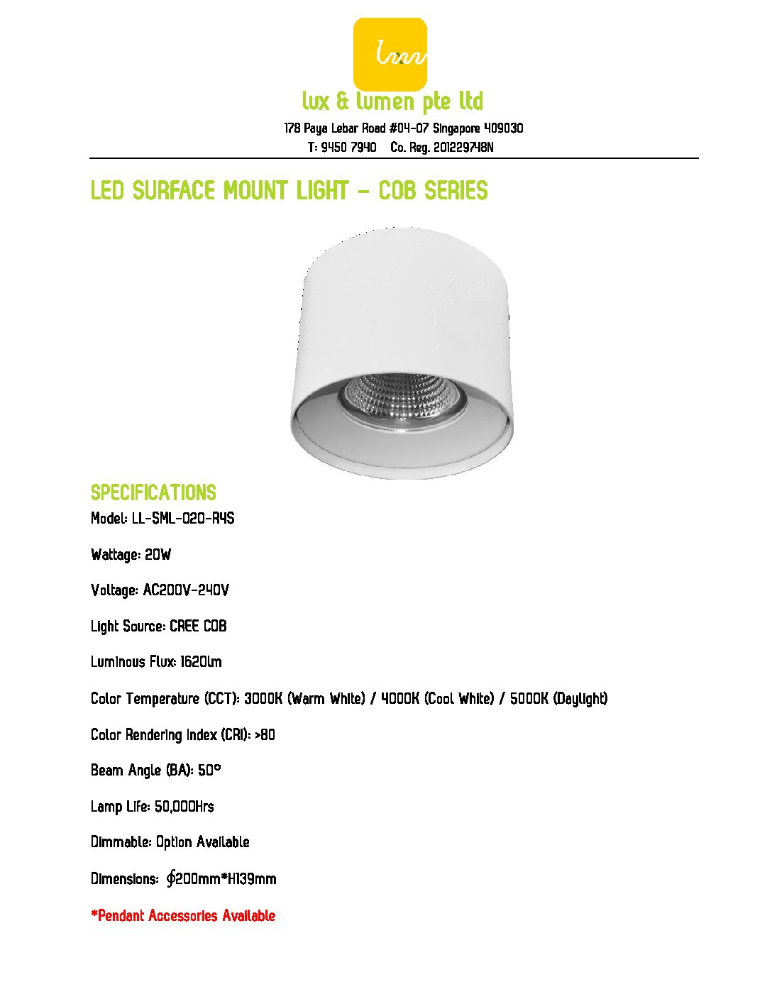 LED Surface Mount Light COB Series R020S