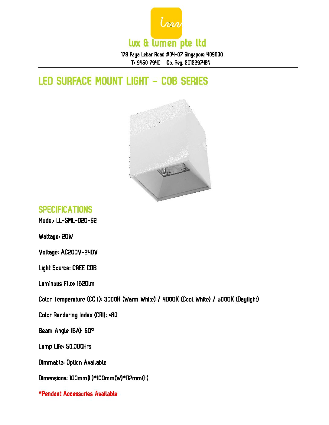 LED Surface Mount Light COB Series S020