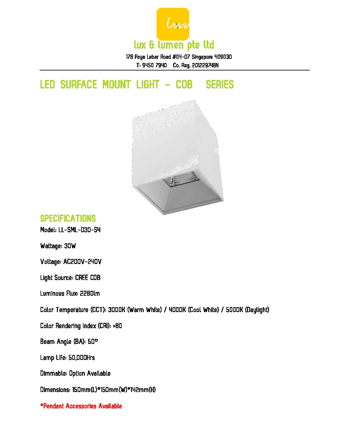 LED Surface Mount Light COB Series S030