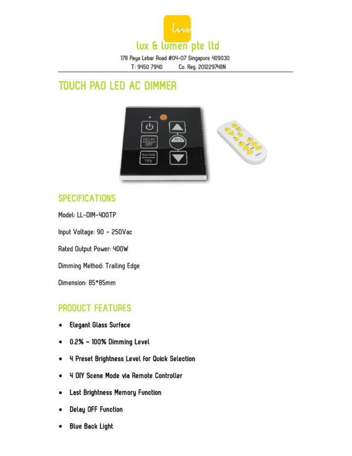 Touch Pad LED AC Dimmer
