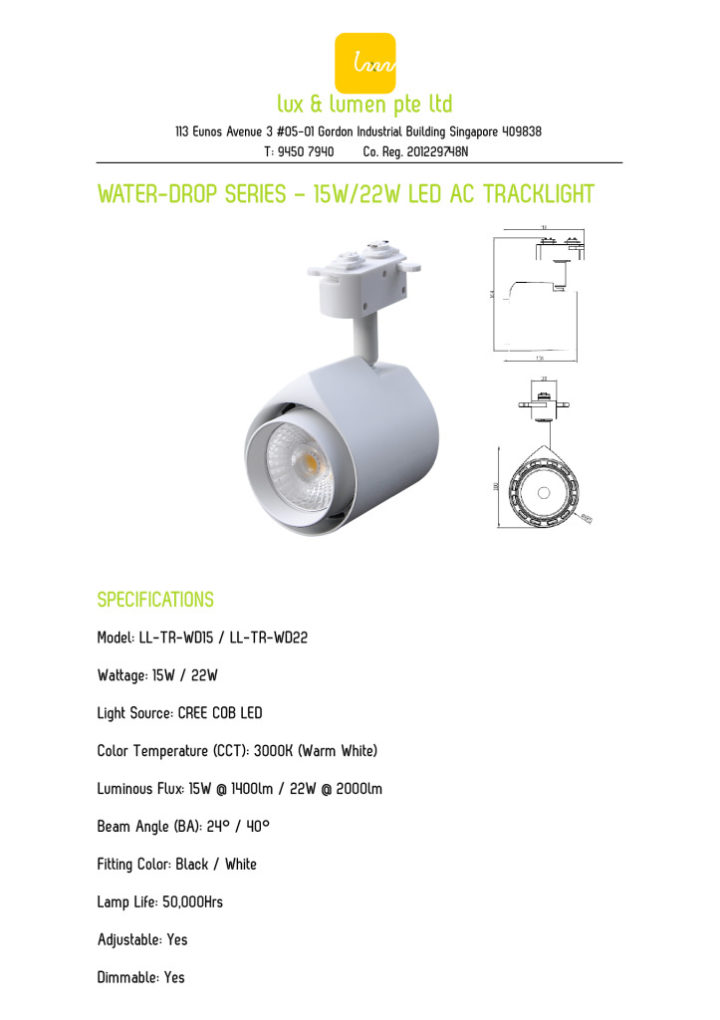 thumbnail of Water-Drop Series – 15W & 22W LED Tracklight